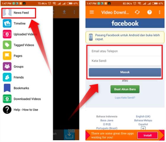 cara mengambil video di facebook di android