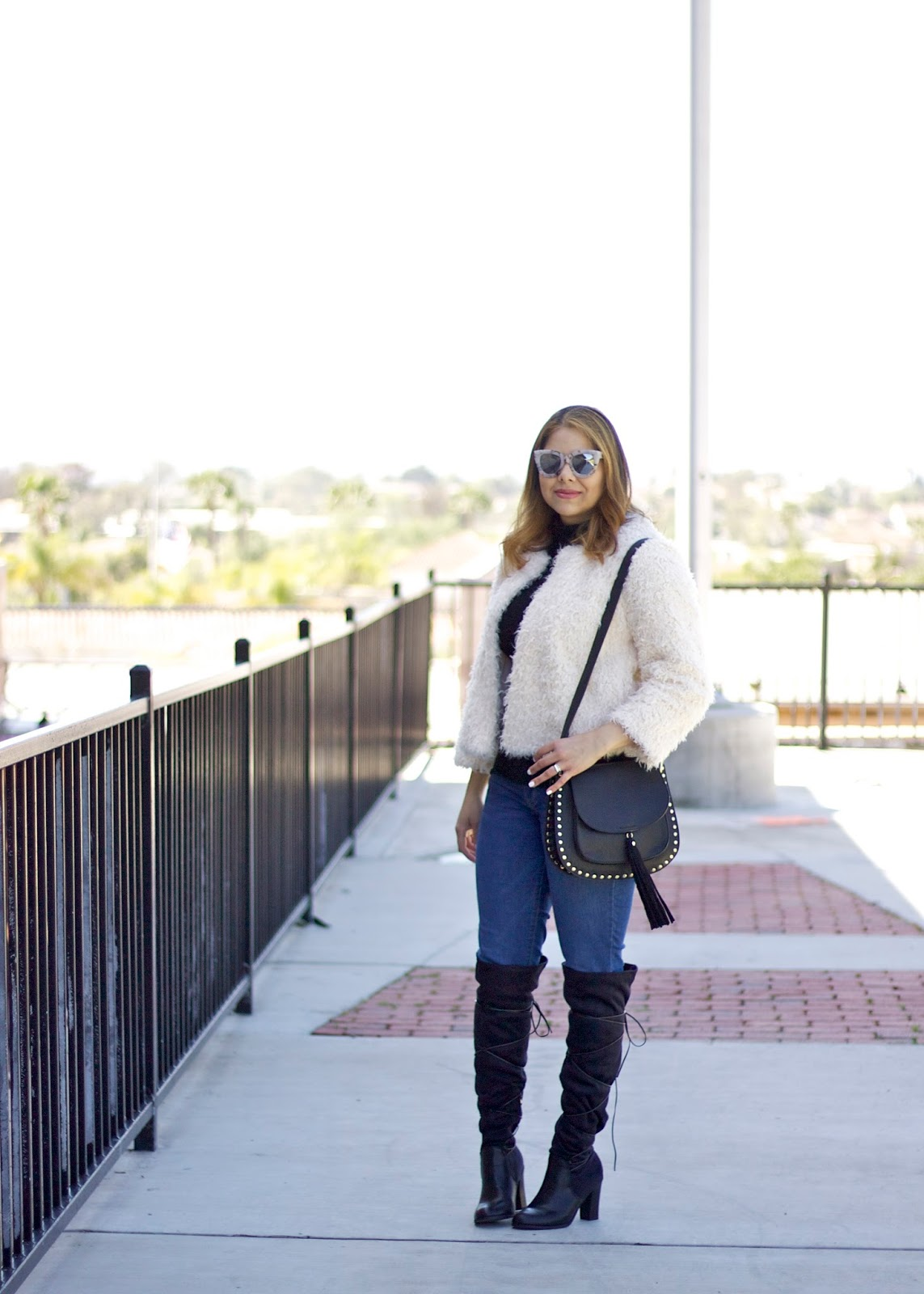 Cute affordable outfit, furry coat outfit, latina fashion, socal fashion blogger