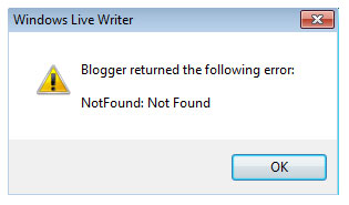 Windows Live Writer error for blogger blogs
