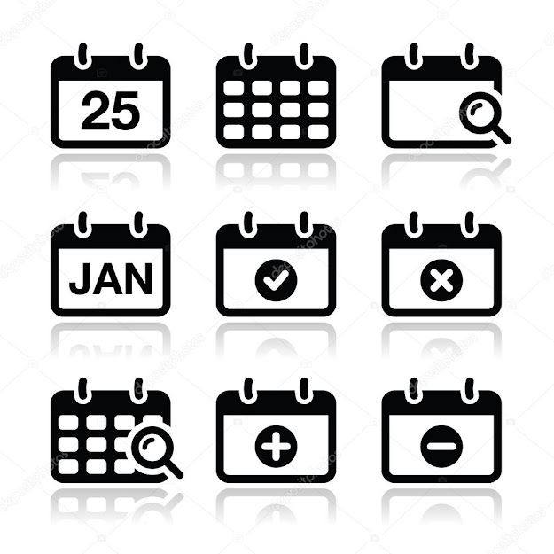 Black Calendar Icons With Reflection Isolated On White  Vector By Redkoala