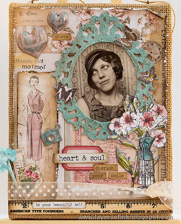 Layers of ink - Layered Vintage Burlap Canvas by Anna-Karin with Tim Holtz idea-ology