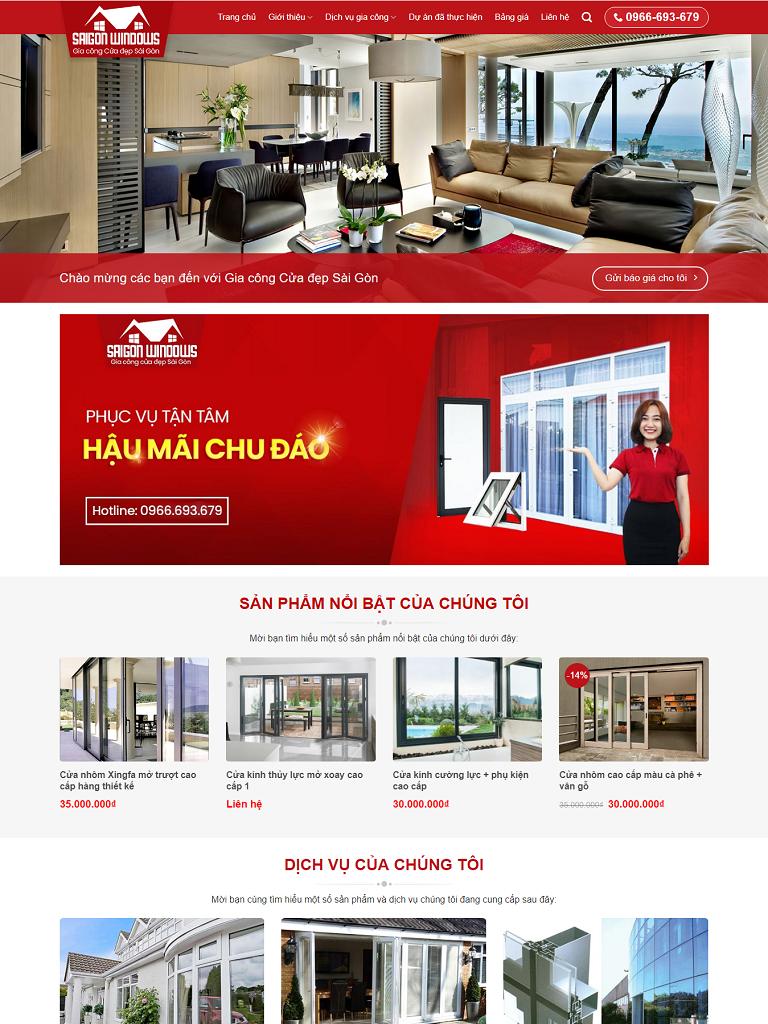 Mẫu website dịch vụ thiết kế thi công nhôm kính - Ảnh 1