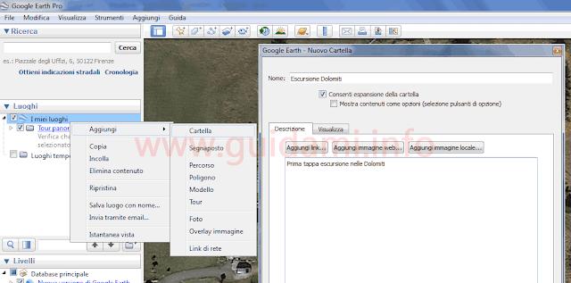 Google Earth creare Nuovo Cartella Luoghi
