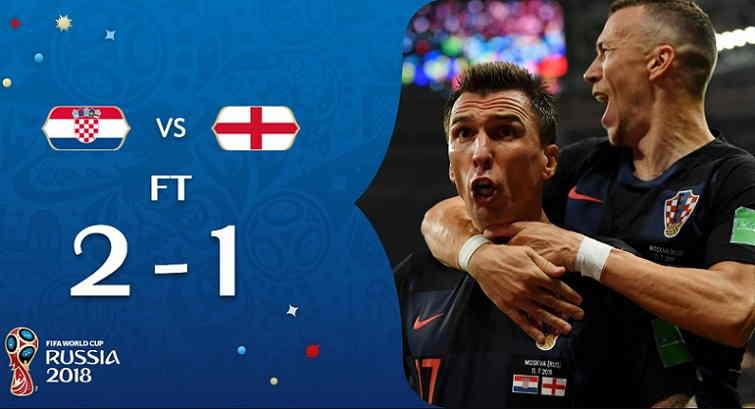 Hasil Kroasia vs Inggris Skor Akhir 2-1 (Semifinal World Cup 2018)