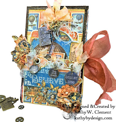 Graphic 45 Imagine Steampunk Folio Large Tag and Flowers Die Regular Tag and Gears Die ATC Tags by Kathy Clement for The Funkie Junkie Boutique