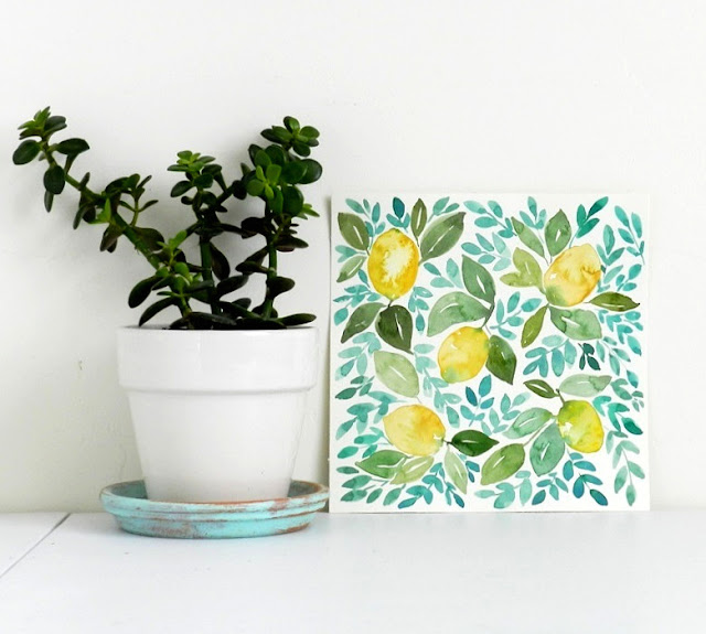 Original Watercolor Lemons painting by Elise Engh