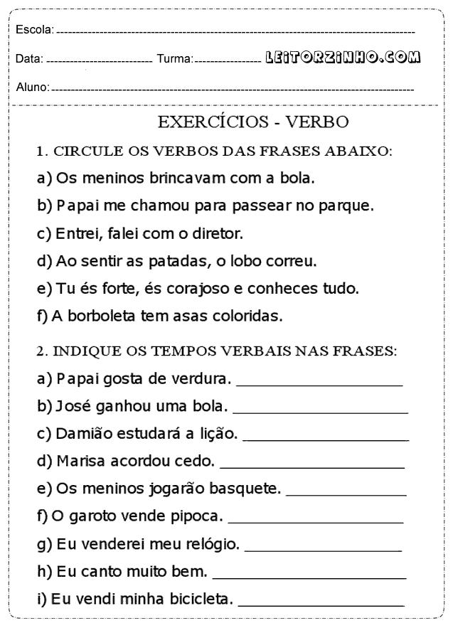 Atividades De Português 4 Ano Verbos Só Escola