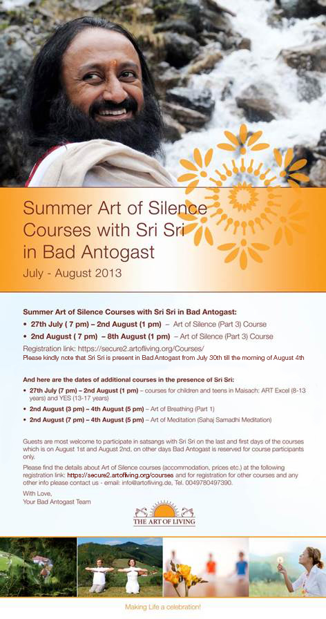 Summer Courses with Sri Sri Ravi Shankar in Bad Antogast