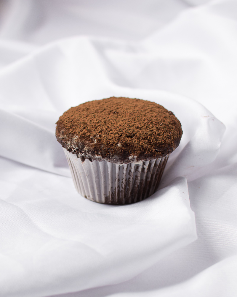 cocoa powder topped cupcakes