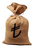 Üzerinde yeni TL simgesi olan bir çuval para
