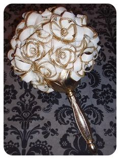 gold white wedding bouquet