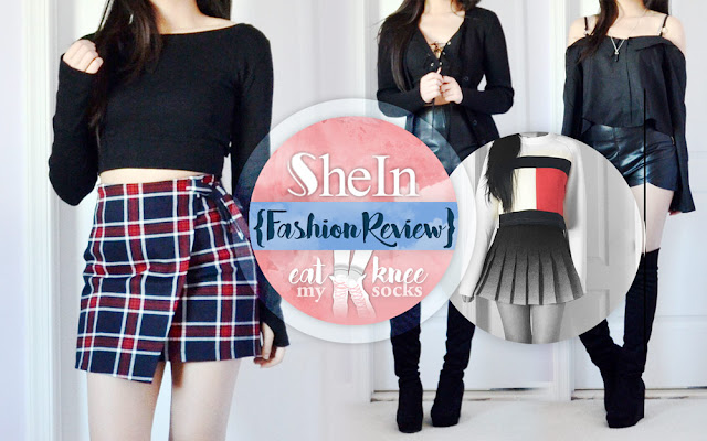 Hey guys, hope your Thanksgiving weekend's been going well! I know it's been forever since my last post, but in the spirit of Black Friday and all the shopping I've been doing lately, here's a review of my latest package from SheIn! I received this package a while ago, including a black long sleeve cutout crop top, black tie-neck cardigan, cropped textured logo print sweatshirt, and off-shoulder buttoned blouse. - Eat My Knee Socks / Mimchikimchi