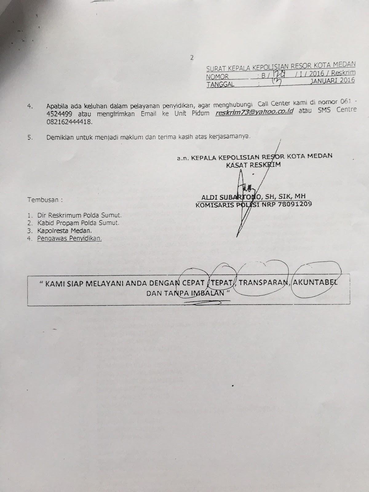 Surat Tanda Terima Laporan Polisi Pembunuhan Mantan Ketua