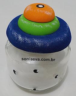 Decoração de vidro de papinha de nenem com E.V.A