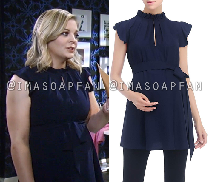 Maxie Jones, Kirsten Storms, Navy Blue Flutter Sleeve Maternity Top, General Hospital, GH