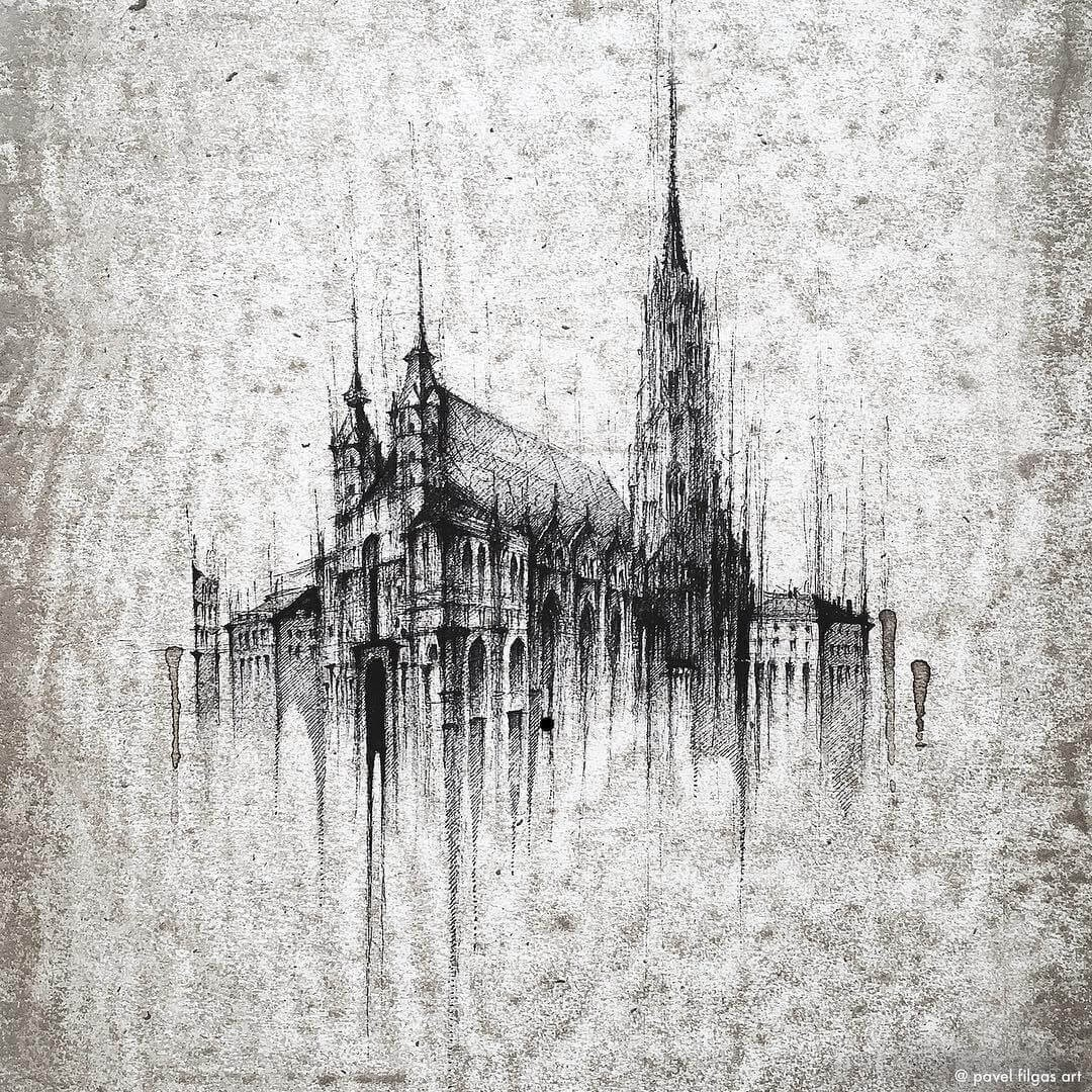 10-St Stephen-Cathedral-Vienna-Austria-Pavel-Filgas-Urban-Drawings-Architecture-on-our-Streets-www-designstack-co