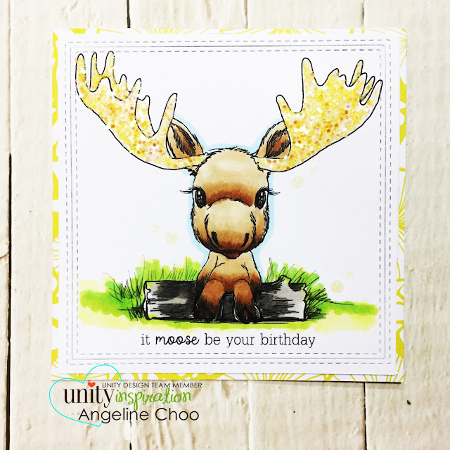 ScrappyScrappy: Cuddlebug Moose with Unity Stamp #scrappyscrappy #unitystampco #cuddlebugmoose #stamp #stamping #card #cardmaking #papercraft #copicmarkers #katscrappiness #wowglitter #glitter #birthdaycard