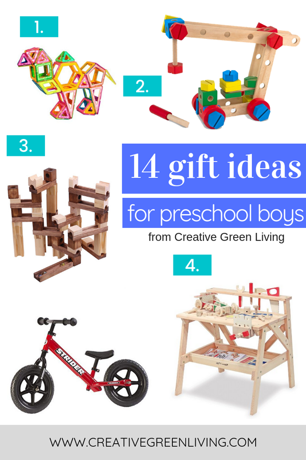 Need to buy presents for your kids or grandkids? This post has 14 great gifts ideas for four year old boys. This list of gifts for preschool age children includes both store bought gifts and DIY gifts ideas that you can make. #creativegreenchristmas #creativegreenliving #giftideas #giftguide #preschool #preschoolers #giftsforkids #4yearoldboys #boymom #christmasgifts #birthdaygifts