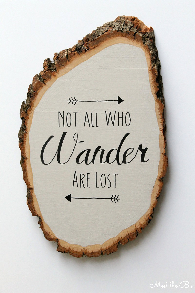 Painted wood slice art- how to transfer text to your projects