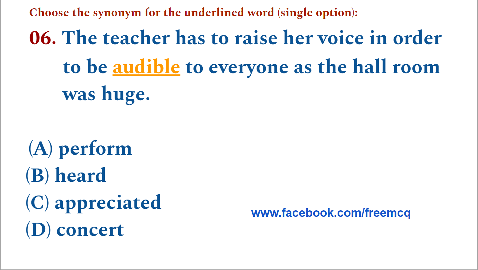 ENGLISH VOCABULARY - FIVE WORDS A DAY MCQ TEST - 006