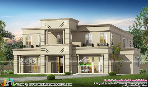 Flat roof Colonial house plan with 5 bedroom