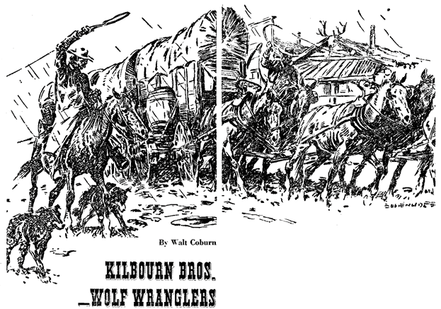 Illustration for Kilbourn Bros. - Wolf Wranglers by Walt Coburn in Western Story Annual, 1948