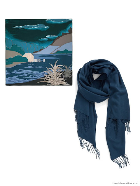 two scarves in teal and jade, with khaki and black