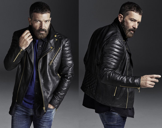 Antonio Banderas Design by Selected Homme cazadora biker piel negra