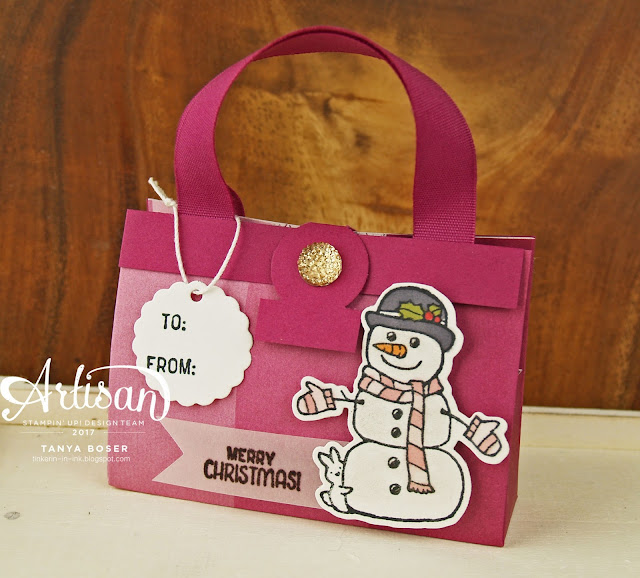 Cute little lip balm purses with Stampin' Up!'s Seasonal Chums and Snowflake Sentiments stamp sets and Color Theory DSP~ Tanya Boser for Inky Friends