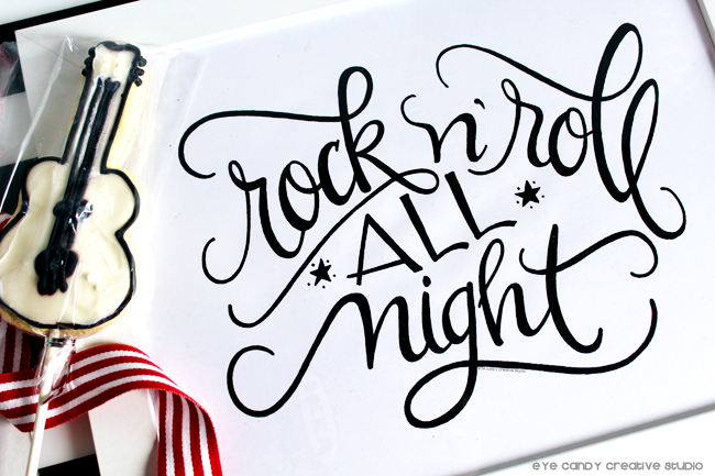 rock n roll all night, rocker art print, guitar cookie, modern calligraphy