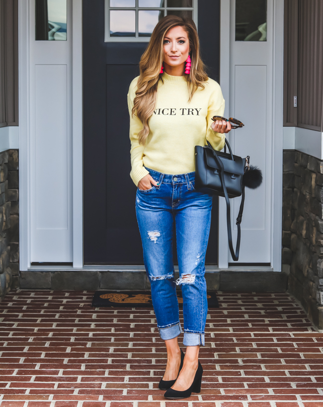 na-kd yellow sweater ag boyfriend jeans pink baublebar tassel earrings