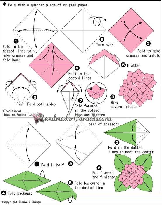 Гортензия из бумаги в технике оригами (1)