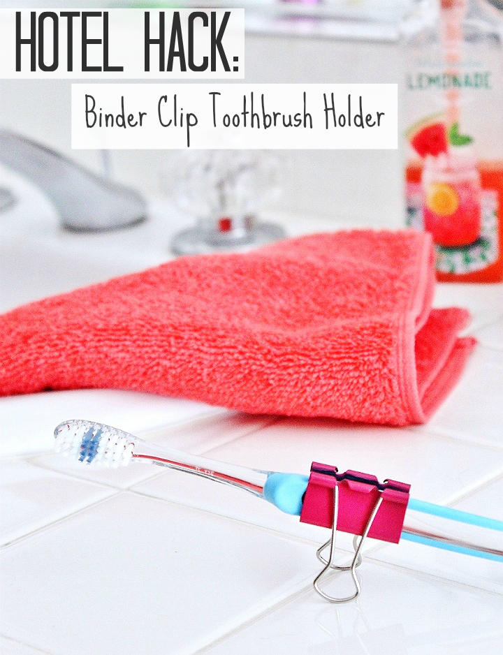 Use a binder clip as a stand to keep your toothbrush off yucky surfaces while traveling! #99YourSummer with these simple Summer Vacation Hacks that'll save you dollars and headaches! #DoingThe99 #AD