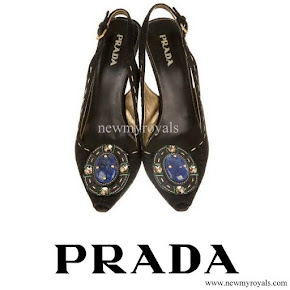 Crown Princess Mette Marit wore Prada Jeweled Brooch Suede Pump