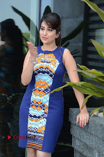 Actress Anchor Manjusha Pictures in Blue Short Dress at Jaguar Movie Success Meet  0030