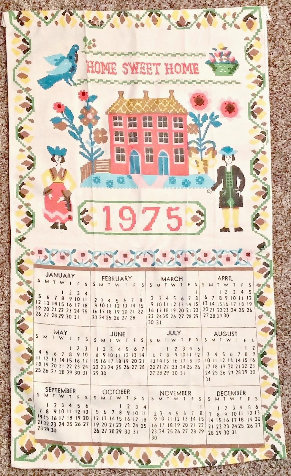 vintage calendar tea towel