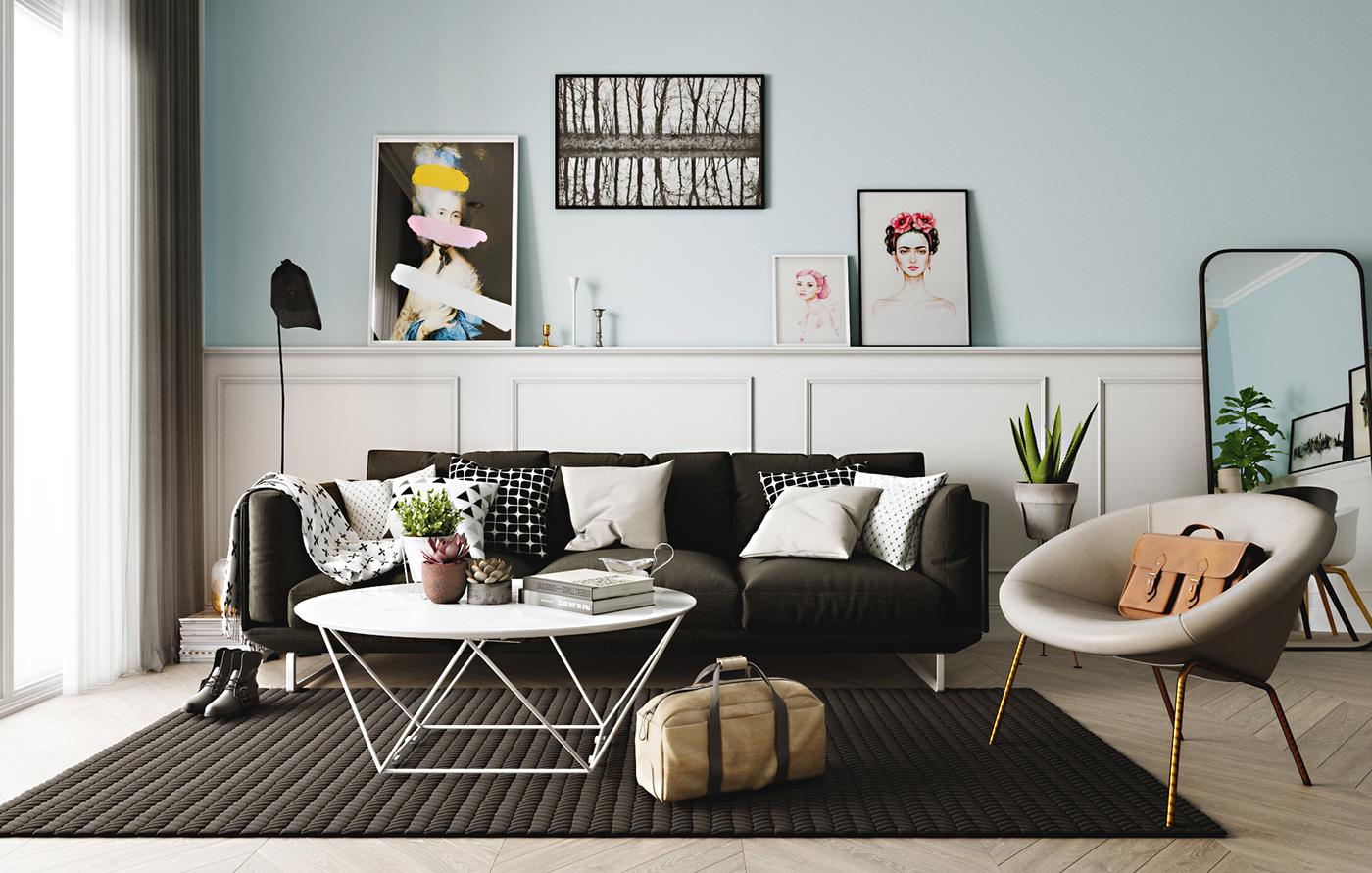 black white and blue scandinavian living room decor