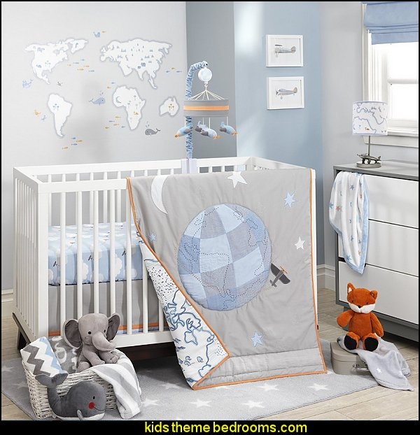 Lambs & Ivy Silver Cloud nursery baby bedrooms travel theme