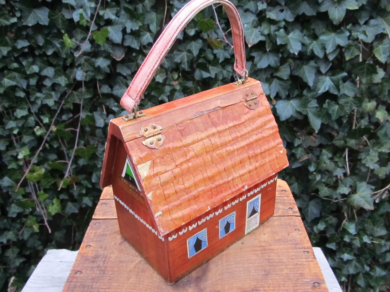d5691a064f57 Vintage Wooden House Purse - Folkart House Hand Bag - 1970 s Wooden House  Purse - Folkart Box Purse