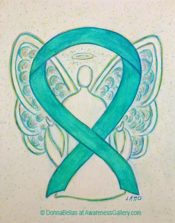 Teal Angel Awareness Ribbon Image Picture