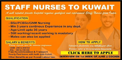 Staff Nurses to Kuwait - Interview on First Week Of June in Cochin