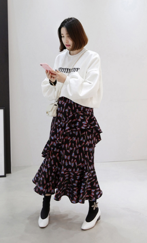 Printed Asymmetrical Tiered Banded Waist Skirt