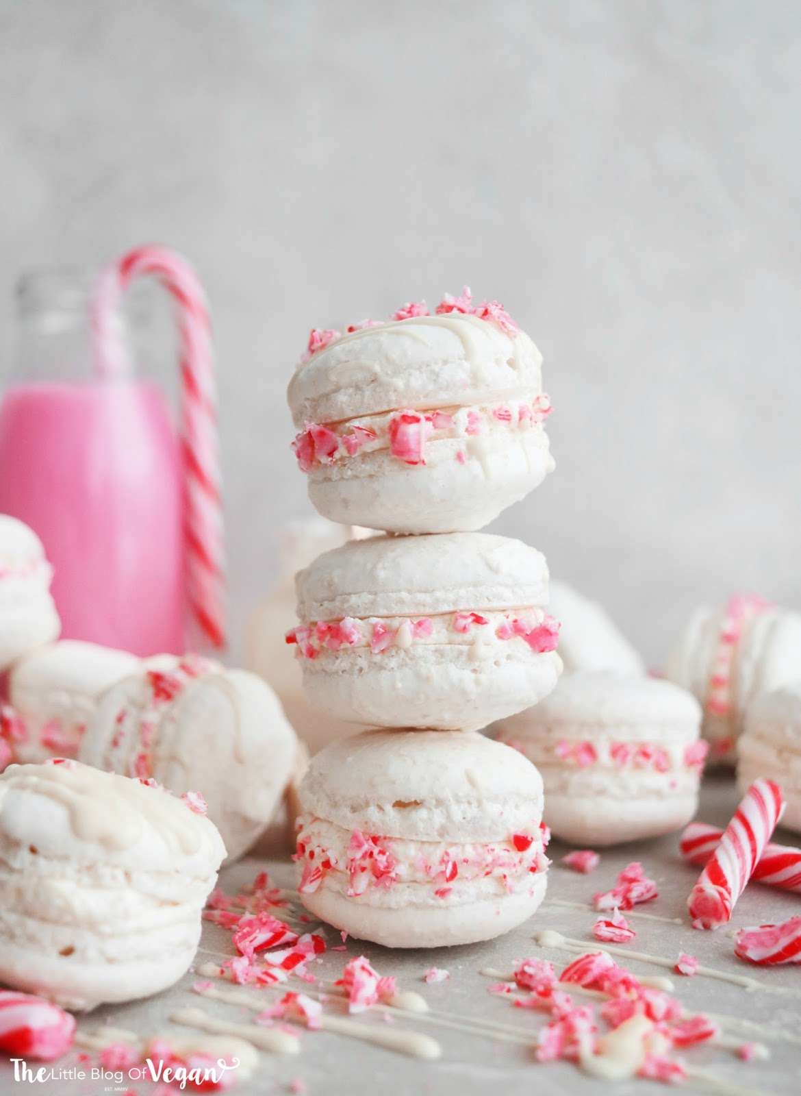 White chocolate candy cane macarons