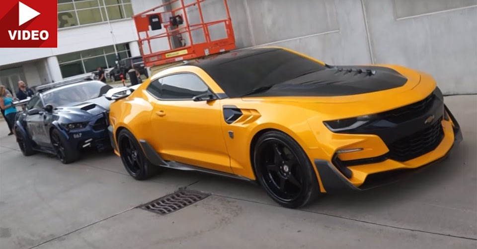 Bumblebee camaro barricade mustang and optimus prime filmed up close