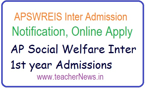 APSWREIS Inter Admission Notification 2019 | APSWR Junior Colleges Online Apply last date
