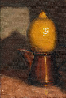 Oil painting of a lemon on top of a small copper jug.