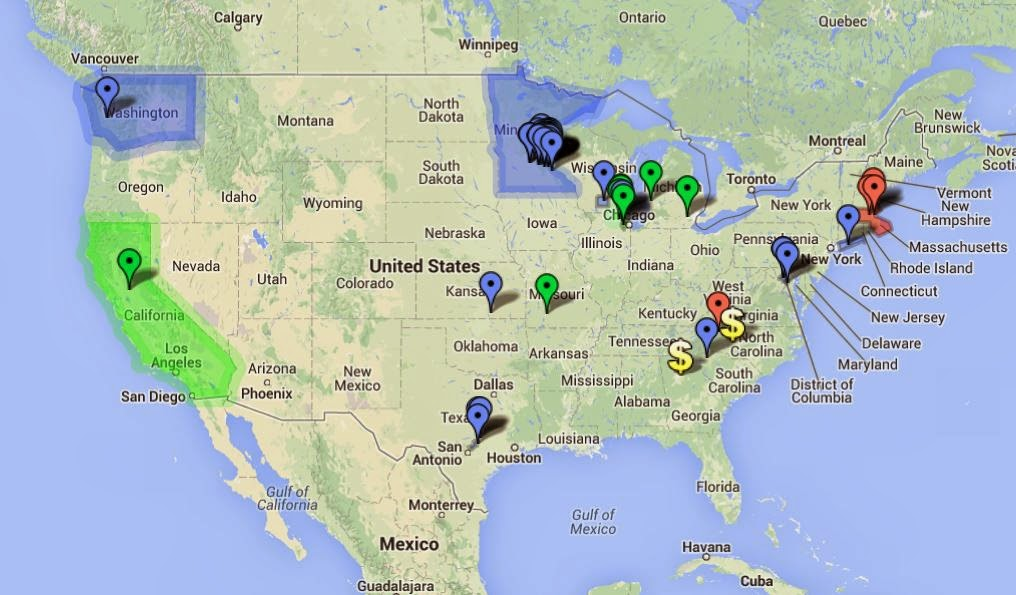 Interactive Map Of Us Coal Tar Sealant Bans Restricted Use Areas - Coal-map-us