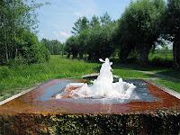 Yeşil bir arazide fokurdayarak çıkan doğal kaynak suyu oluğu