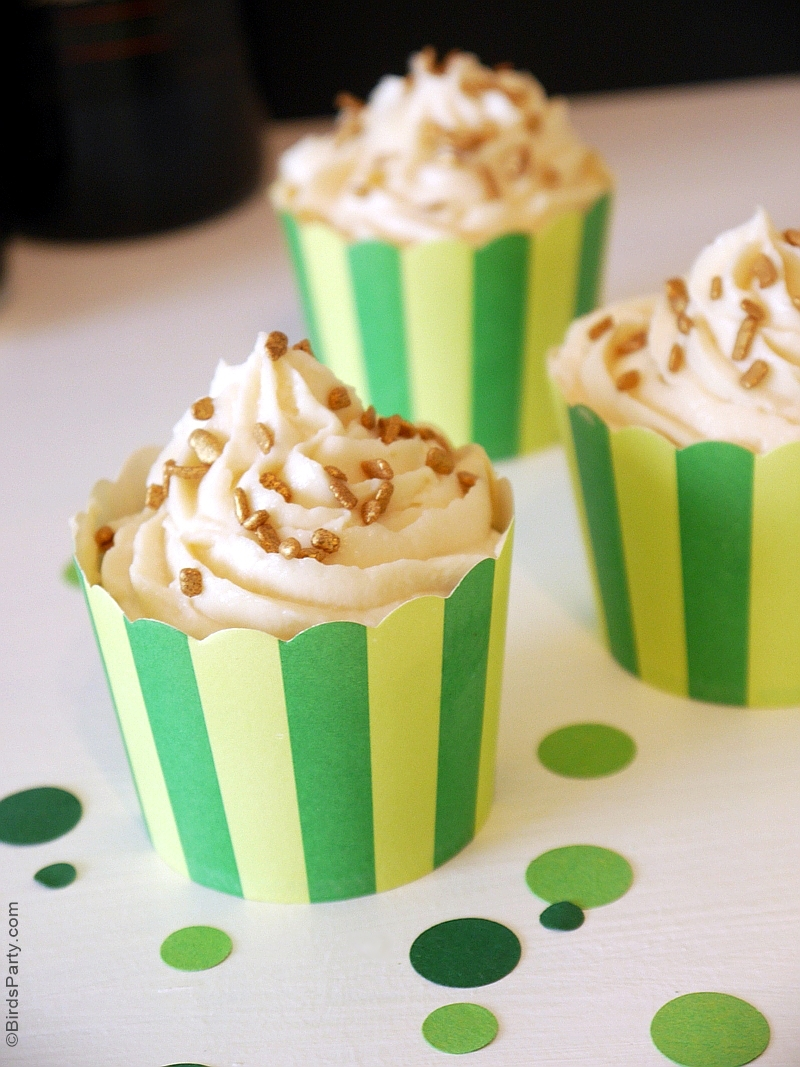 Stout Chocolate Cupcakes with Irish Cream Frosting  Recipe - BirdsParty.com