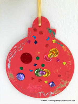 Bejewelled red foam bauble